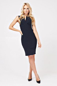 Платье-футляр темно-синего цвета Carlo Bottichelli со скидкой