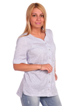 Хлопковая рубашка в полоску ElenaTex со скидкой
