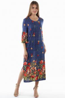 Новинка: длинное синее платье с цветами Bast