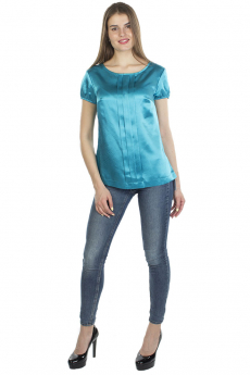 Новинка: бирюзовая блузка с коротким рукавом Bast